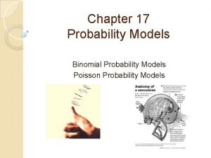 Chapter 17 Probability Models Binomial Probability Models Poisson