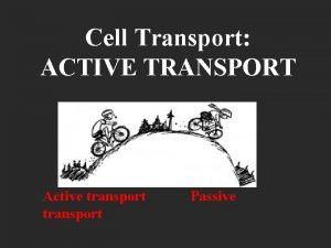 Cell Transport ACTIVE TRANSPORT Active transport Passive Standard