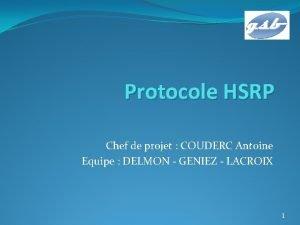 Protocole HSRP Chef de projet COUDERC Antoine Equipe