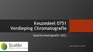 Keuzedeel 0751 Verdieping Chromatografie Gaschromatografie GC Marco Houtekamer