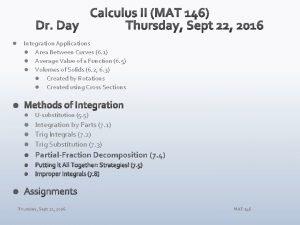 l Integration Applications l Area Between Curves 6