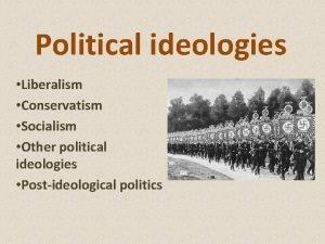 Political ideologies Liberalism Conservatism Socialism Other political ideologies