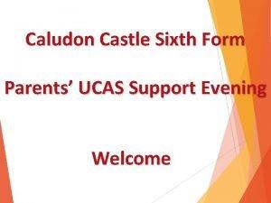 Caludon Castle Sixth Form Parents UCAS Support Evening