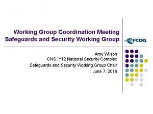 Working Group Coordination Meeting Safeguards and Security Working