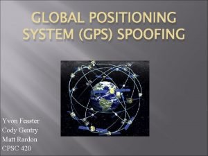GLOBAL POSITIONING SYSTEM GPS SPOOFING Yvon Feaster Cody