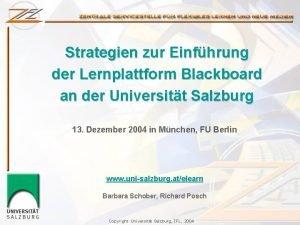Strategien zur Einfhrung der Lernplattform Blackboard an der