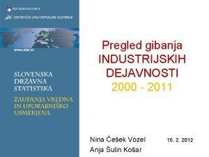 Pregled gibanja INDUSTRIJSKIH DEJAVNOSTI 2000 2011 Nina eek