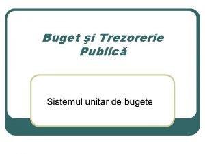 Buget i Trezorerie Public Sistemul unitar de bugete