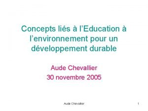 Concepts lis lEducation lenvironnement pour un dveloppement durable