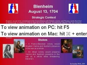 Blenheim August 13 1704 Strategic Context England as