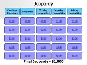 Jeopardy OneStep Equations Properties Writing Inequalities Graphing Inequalities