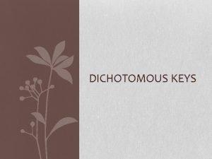 DICHOTOMOUS KEYS Introduction A dichotomous key is a