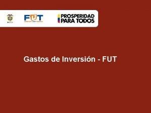 Gastos de Inversin FUT Formulario Gastos de Inversin