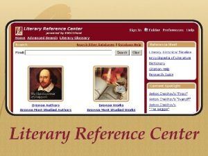 EBSCOs Literary Reference Center LRC EBSCOs LRC can
