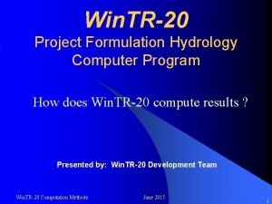 Win TR20 Project Formulation Hydrology Computer Program How