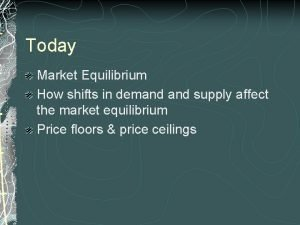 Today Market Equilibrium How shifts in demand supply