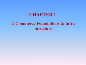 CHAPTER 1 ECommerce Foundations Infrastructure Objectives ECommerce Introduction