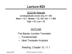 Lecture 23 QUIZ 3 Results undergraduate scores only