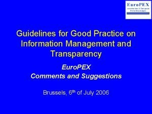 Guidelines for Good Practice on Information Management and