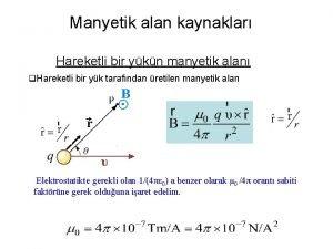 Manyetik alan kaynaklar Hareketli bir ykn manyetik alan