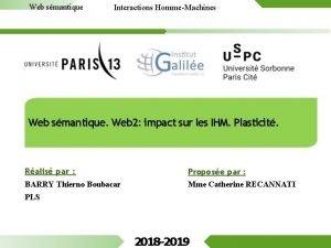 Web smantique Interactions HommeMachines Web smantique Web 2