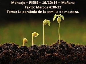 Mensaje PIEBE 161016 Maana Texto Marcos 4 30