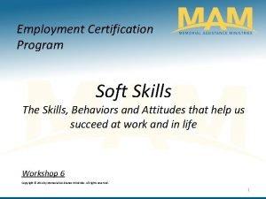 Employment Certification Program Soft Skills The Skills Behaviors