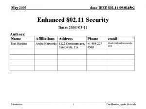 May 2009 doc IEEE 802 11 090315 r