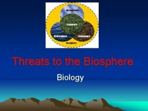 Threats to the Biosphere Biology Biosphere The outer