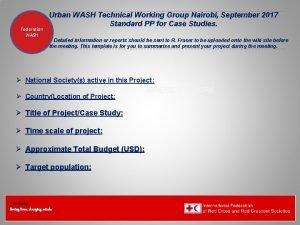 Federation Urban WASH Technical Working Group Nairobi September