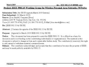 March 2019 doc IEEE 802 15 19 009800