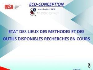 ECOCONCEPTION Cours option 5 GMD Gnie Mcanique de