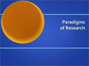 Paradigms of Research Paradigms Frames of reference we