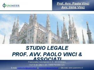 Prof Avv Paolo Vinci Avv Irene Vinci STUDIO