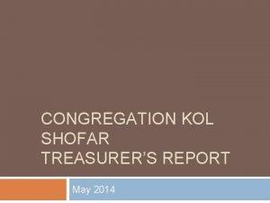 CONGREGATION KOL SHOFAR TREASURERS REPORT May 2014 FirstA