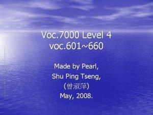 Voc 7000 Level 4 voc 601660 Made by