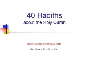 40 Hadiths about the Holy Quran https www