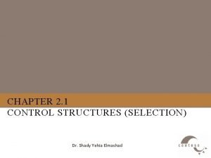 CHAPTER 2 1 CONTROL STRUCTURES SELECTION Dr Shady