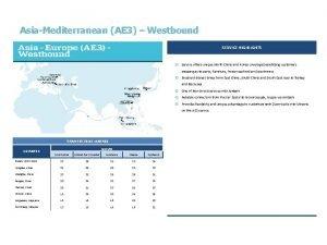 AsiaMediterranean AE 3 Westbound SERVICE HIGHLIGHTS y Service