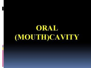 ORAL MOUTHCAVITY Oral cavity mouth Extends from oral