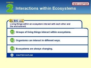 CHAPTER NEW CHAPTER Interactions within Ecosystems the BIG