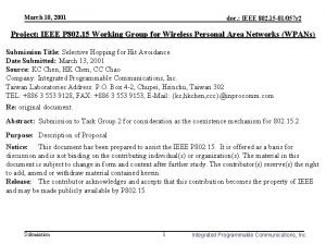 March 10 2001 doc IEEE 802 15 01057