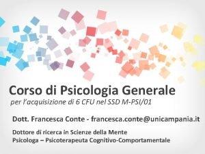 Corso di Psicologia Generale per lacquisizione di 6