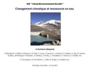 GIS ClimatEnvironnementSocit Changement climatique et ressources en eau