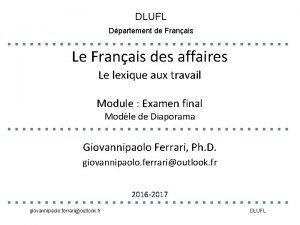 DLUFL Dpartement de Franais Le Franais des affaires