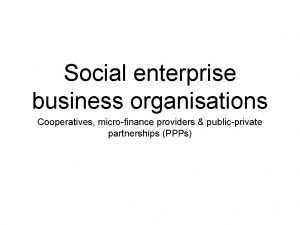 Social enterprise business organisations Cooperatives microfinance providers publicprivate