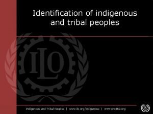 Identification of indigenous and tribal peoples Indigenous and