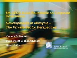 5 th OECD Asian Roundtable on Corporate Governance