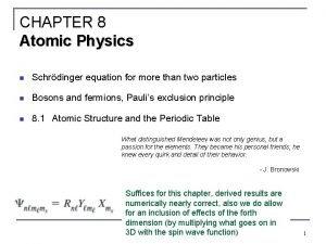 CHAPTER 8 Atomic Physics n Schrdinger equation for