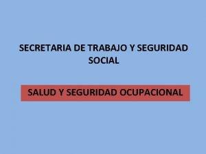 SECRETARIA DE TRABAJO Y SEGURIDAD SOCIAL SALUD Y